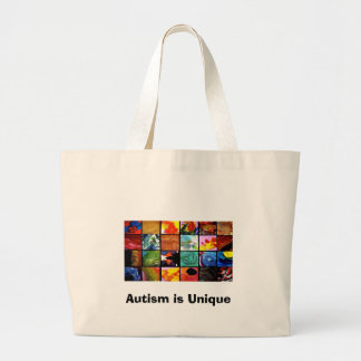 AUTISM, Autism is Unique Large Tote Bag
