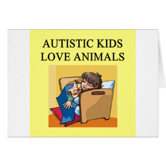 autism autistic kids love animals cats dogs greeting card