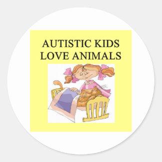 autism autistic kids love animals cats dogs classic round sticker