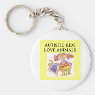 autism autistic kids love animals cats dogs basic round button keychain