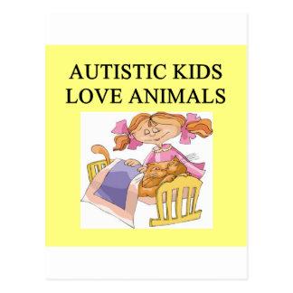 autism autistic kids love animals cats dogs postcard