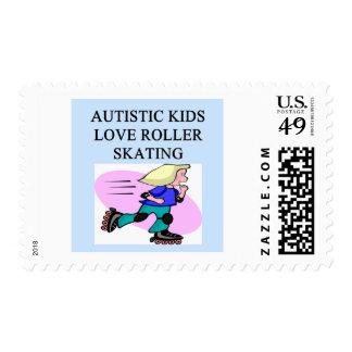 autism autistic kids love roller skating postage