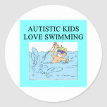 autism autistic kids love swimming classic round sticker