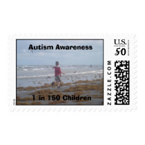 Autism Awareness 1 in 150 Children Beach picture Postage