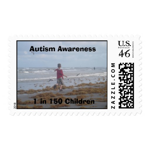 Autism Awareness 1 in 150 Children Beach picture Postage Stamps