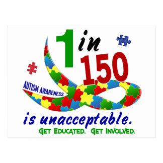 AUTISM AWARENESS 1 IN 150 IS UNACCEPTABLE POSTCARD