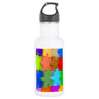 Autism Awareness 3D Multicolor Puzzle Water Bottle