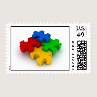 Autism Awareness 3D Puzzle Pieces Postage Stamps