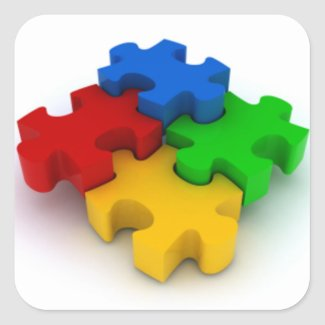3D Puzzle Pieces Square Stickers