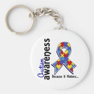 Autism Awareness 5 Basic Round Button Keychain