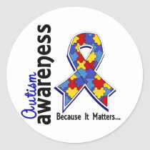 Autism Awareness 5 Classic Round Sticker