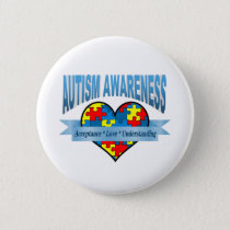 Autism Awareness Acceptance Love Understanding Pinback Button