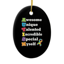 Autism Awareness Acronym Ceramic Ornament