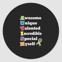 Autism Awareness Acronym Classic Round Sticker