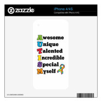 Autism Awareness Acronym Decal For iPhone 4