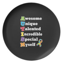 Autism Awareness Acronym Dinner Plate