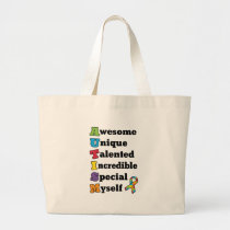 Autism Awareness Acronym Large Tote Bag
