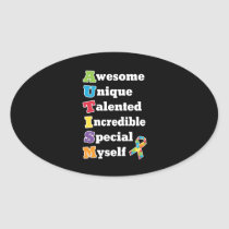 Autism Awareness Acronym Oval Sticker