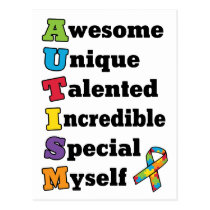 Autism Awareness Acronym Postcard