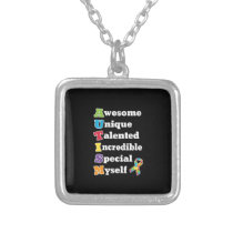 Autism Awareness Acronym Silver Plated Necklace
