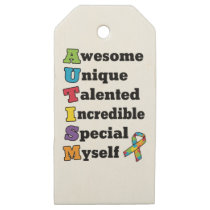 Autism Awareness Acronym Wooden Gift Tags