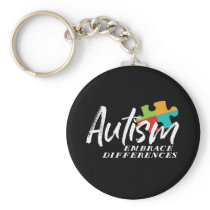 Autism Awareness and Support Embrace Differences Keychain