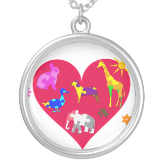 Autism Awareness Animals Silver Plated Necklace