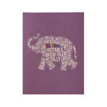 Autism Awareness Art: Elephant Art Wood Poster
