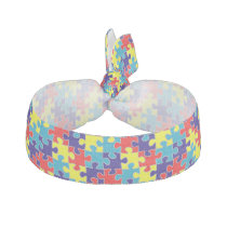 Autism Awareness ASD Aspergers Puzzle Pattern Elastic Hair Tie