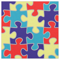Autism Awareness ASD Aspergers Puzzle Pattern Fabric