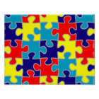 Autism Awareness ASD Aspergers Puzzle Pattern Poster