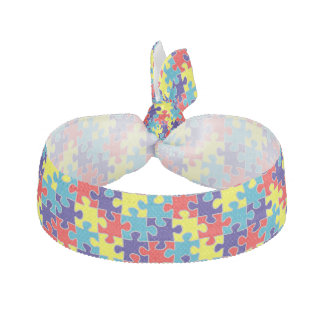 Autism Awareness ASD Aspergers Puzzle Pattern Elastic Hair Tie