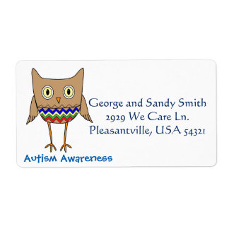 Autism Awareness Autism Colors Owl Zig Zags Label