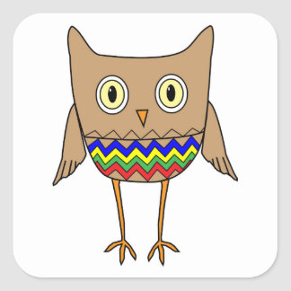 Autism Awareness Autism Colors Owl ZigZag Chevrons Square Sticker