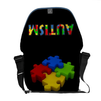Autism Awareness Bag Red Yellow Blue Green Puzzle
