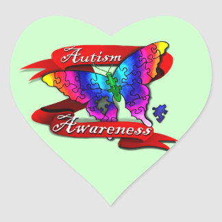 Autism Awareness Banner Heart Sticker