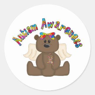Autism Awareness Bear Classic Round Sticker