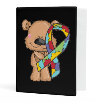 Autism Awareness Bear Mini Binder