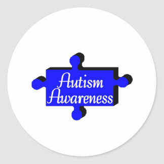 Autism Awareness Blue PP Round Stickers