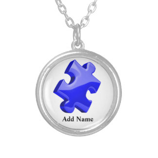Autism Awareness Blue Puzzle Necklace Customize