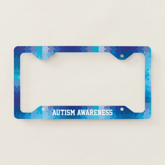 Autism Awareness Blue Puzzle Pattern License Plate Frame | Zazzle.com
