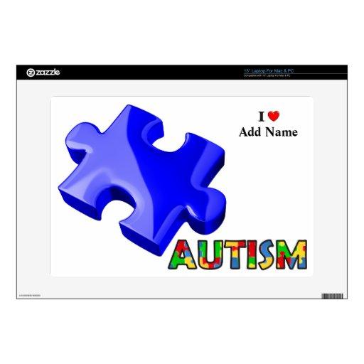 Autism Awareness Blue Puzzle Skin Customize Laptop Decals