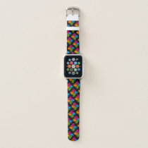 Autism Awareness Bright Support Puzzle Piece BLACK Apple Watch Band