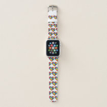Autism Awareness Bright Support Puzzle Piece HEART Apple Watch Band