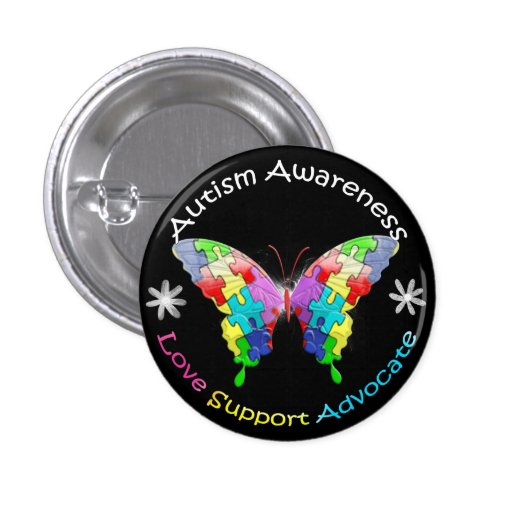 Autism Awareness Butterfly 1 Inch Round Button
