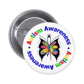 Autism Awareness Butterfly 2 Inch Round Button