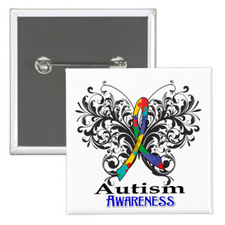 Autism Awareness Butterfly 2 Inch Square Button