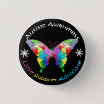 Autism Awareness Butterfly Button