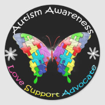 Autism Awareness Butterfly Classic Round Sticker