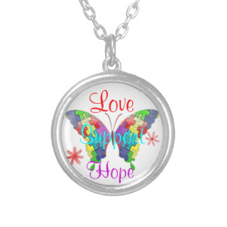 Autism Awareness Butterfly Round Pendant Necklace